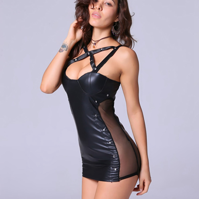Leather Nightdress Fashion Sexy Sleepwear Large Size Night Dress Lingerie Women Nightwear Sexy Lace Temptation Nightdress 1