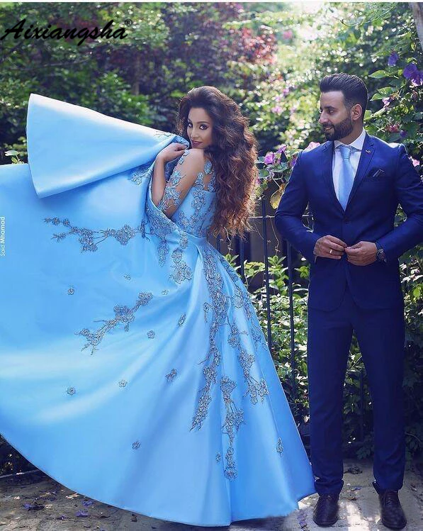 Blue Muslim   Evening     Dresses   2019 Lace Off the Shoulder Islamic Dubai Kaftan Saudi Arabic Long   Evening   Gown Prom   Dress
