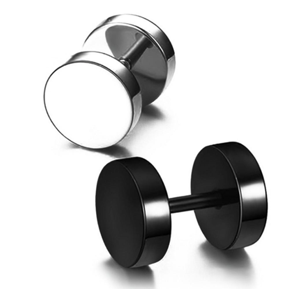 Hip-Hop Rock Dumbbell Titanium Steel Ear Stud Earring 2Pcs Anti Allergy Medical