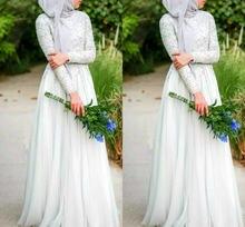 Мусульманские свадебные платья хиджаб простой белый бисер кристалл