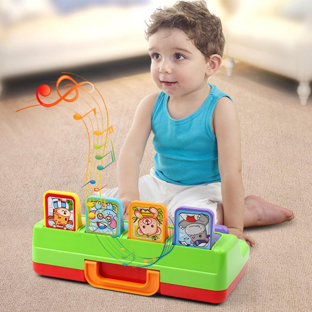 Cute Cartoon Animal Shape Peekaboo Pop-Up Interactive Toy with Music Kids Gift Musical Instrument To Kids Early Learning