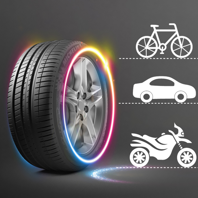 FORAUTO 2PCS Car Wheel LED Light Motocycle Bike Light Tire Valve Cap Decorative Lantern Tire Valve Cap Flash Spoke Neon Lamp 4