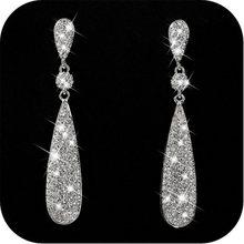 Orecchini lucidi di lusso dei monili di cerimonia nuziale delle donne degli orecchini dello zircone di stile fresco sveglio geometrico popolare di modo all'ingrosso