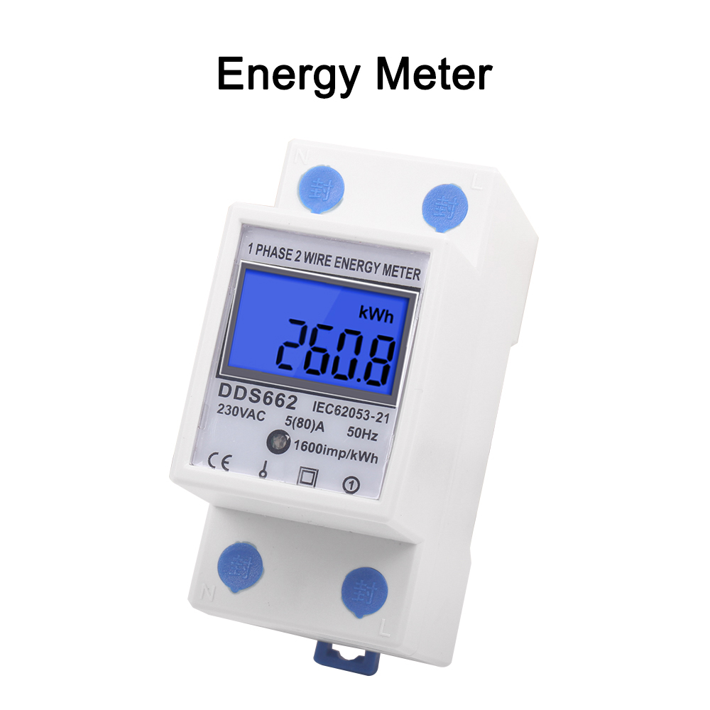 Backlit Single Phase Two Wire LCD Digital Display Wattmeter Power Consumption Energy Meter KWh AC 230V 50Hz Din Rail