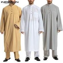 INCERUN – ensemble musulman pour hommes, haut à manches longues, pantalon, Kaftan arabe islamique, dubaï, Jubba Thobe, 2 pièces