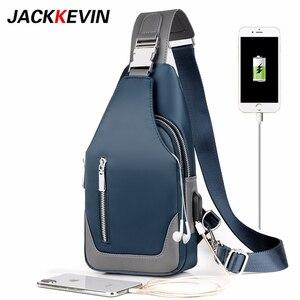 Image 1 - Bolsa masculina tipo carteiro, bolsa de ombro de pano oxford, casual, bolsa mensageira, de carregamento usb, multifuncional