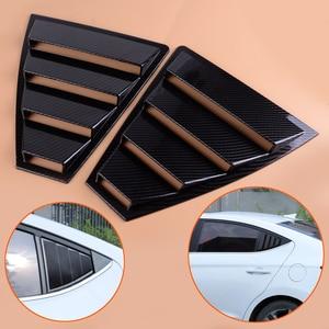 Image 1 - Beler capa para janela traseira, 2 peças, abs, fibra de carbono, painel quarto, guarnição para hyundai elantra 2017 2018 2019