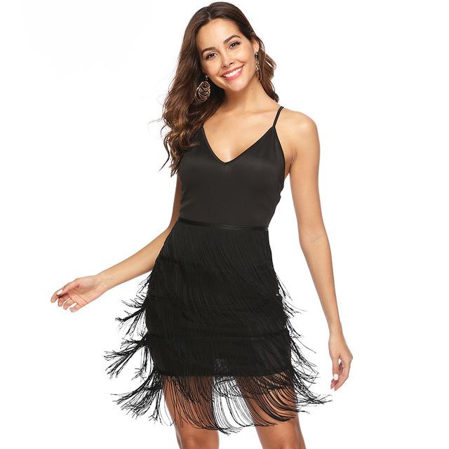 Black fringe flapper dress mini