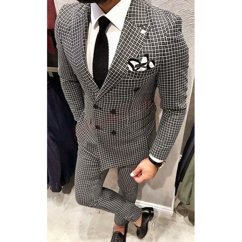 2020 New Designs Slim Fit Men Suit 2 Piece Stylish Groom Tuxedo Mens Wedding Suit Blazer Set Grey Lattice Man Jacket With Pants