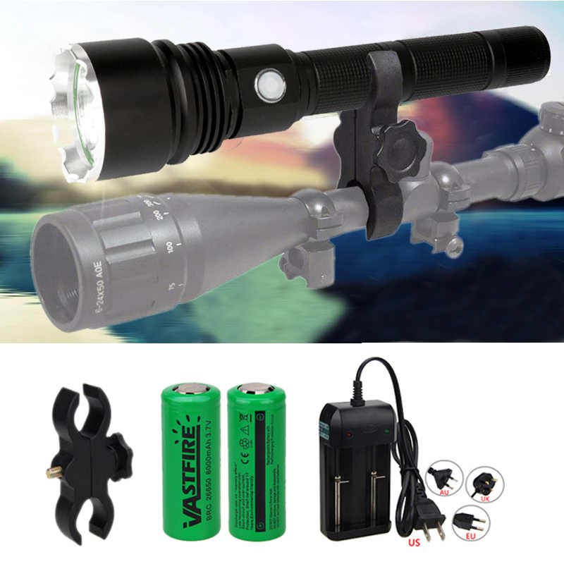 XHP50 Taktis Berburu Senter P50D Pistol Linterna Airsoft Armas Lampu + Rifle Scope Mount + 2*26650 + Baterai charger