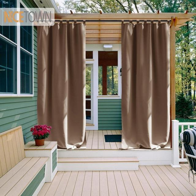 NICETOWN Outdoor Waterproof Curtain Tab Top Thermal Insulated Blackout Curtain Drape for Patio Garden Front Porch Gazebo