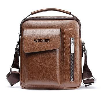 Casual Men Shoulder Bag Vintage Crossbody Bags High Quality Male Bag PU Leather Handbag Capacity Men Messenger Bags Tote Bag 1