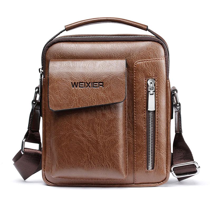 Rahat erkek omuz çantası klasik postacı çantaları yüksek kaliteli erkek çanta PU deri çanta kapasiteli erkek postacı çantası Tote çanta