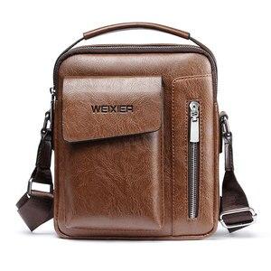 Image 1 - Sac à bandoulière en cuir PU pour hommes, sac à main Vintage de bonne qualité, sac à main de capacité, sacoche fourre tout, décontracté
