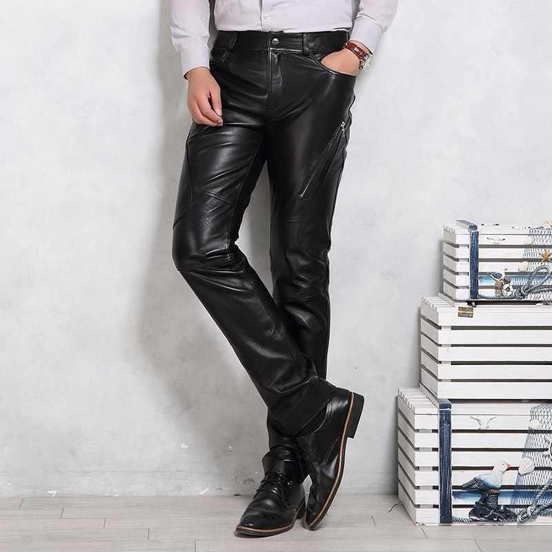 本革パンツ男性高級ブランドの黒のオートバイのパンツプラスサイズ 4XL フリースの裏地厚い暖かいズボン