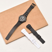 New Durable 18mm Black White Silicone Rubber Watchband Replacement For Casio MRW-200H Watch Convex Resin Strap