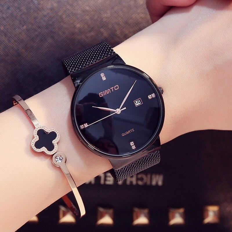 Luxury GIMTO Fashion Ladies Watches Rose Gold Women Watches Elegant Minimalism Rhinestone Casual Black Female Waterproof Clock