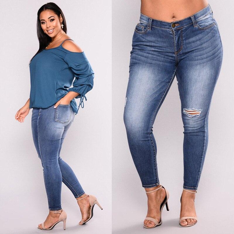 Platform Red WOMEN'S Pants XXXXXL Fashion Fat Jeans With Holes Ultra-stretch Skinny Pants