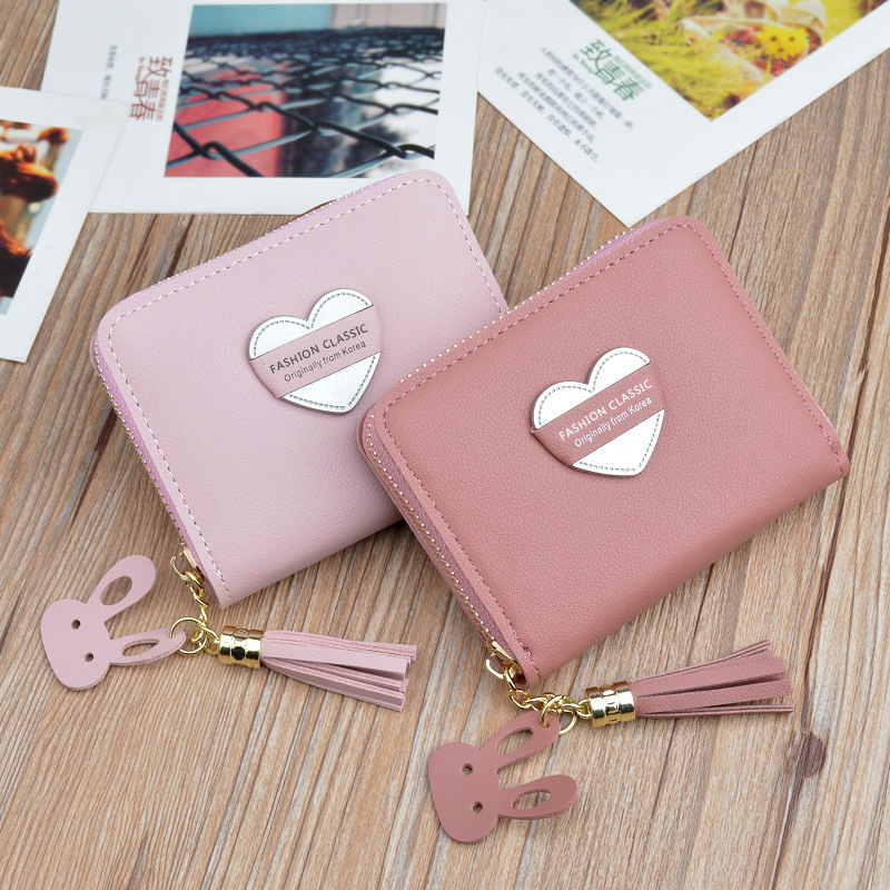 New Style Purse Women's Zipper Mini Coin Bag Key Korean-style Students Heart Simple Tassels Xiao Qian Jia