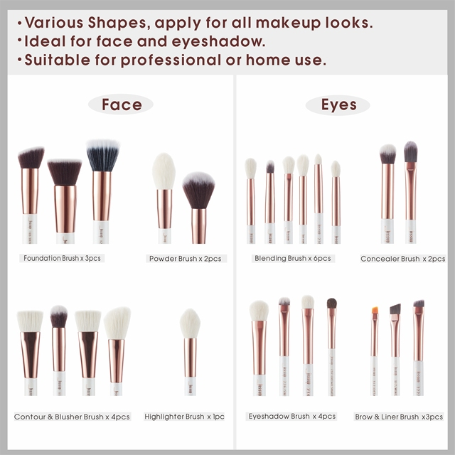 Jessup brushes Pearl White/Rose Gold Makeup brushes set Professional Beauty Make up brush Natural hair Foundation Powder Blushes 3
