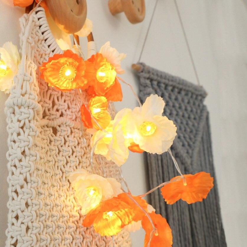 Flower String Lights,LED Battery Operated String Romantic Flower Rose Fairy Light Lamp Outdoor For Valentine's Day,Wedding,Room