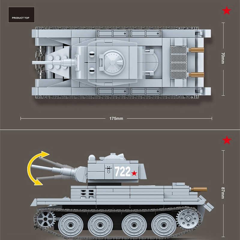 2020 جديد اللبنات العسكرية مجموعات الجيش WW2 الاتحاد السوفياتي BT-7 دبابات العالم الجندي سلاح الطوب التعليم اللعب ل