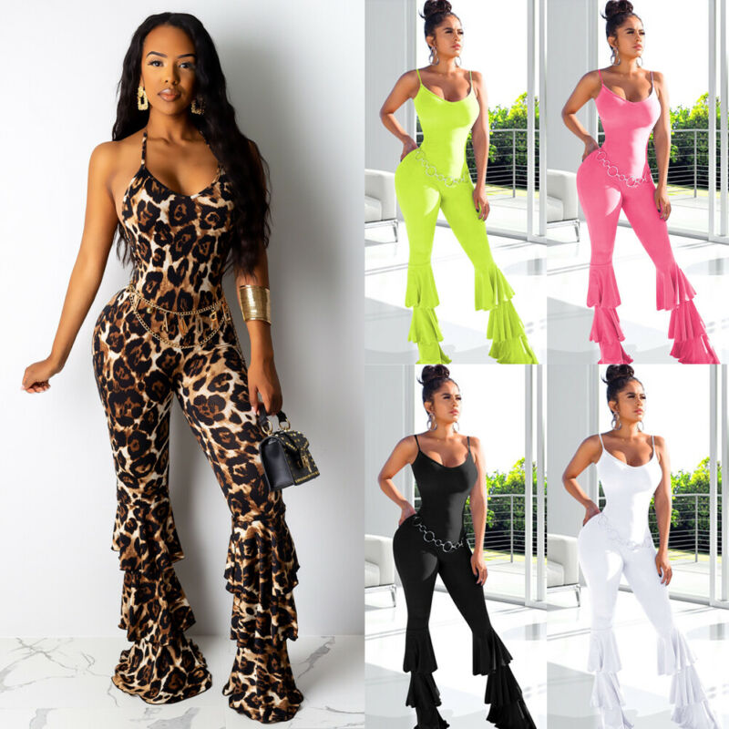 Fashion Women Sport Yoga Gym Jumpsuit Leopard Solid Rompers Suit Fitness Slim Workout Jumpsuit Bodysuits