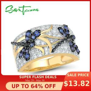 SANTUZZA Silver-Rings Sparkling Fine-Jewelry Cubic-Zirconia Blue 100%925-Sterling-Silver