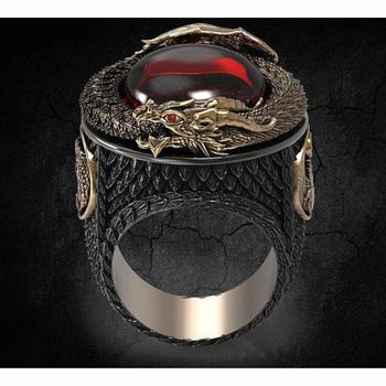 Klasyczne męskie złoty kolor pierścień w kształcie smoka biżuteria moda Punk Style czerwony kryształ stal stalowe pierścienie dla mężczyzn Party najlepszy prezent tanie i dobre opinie ZHIXUN CN (pochodzenie) STAINLESS STEEL Ze stopu cynku Mężczyźni Metal Klasyczny Koktajl pierścień Zwierząt Other