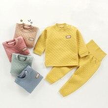 Новое хлопковое детское теплое нижнее белье, костюм коллекция года, утепленная трехслойная хлопковая одежда для малышей на осень, брюки детские пижамы