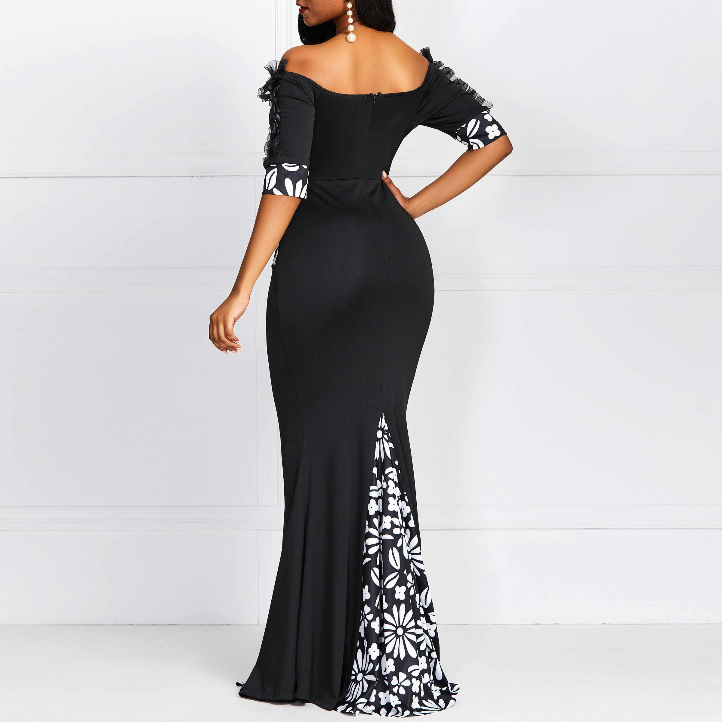 Женское элегантное облегающее платье, летнее, черное, с открытыми плечами, цветочный принт, Русалка, тонкое, сексуальное платье, винтажное, кружевное, для девушек, вечерние, длинное платье