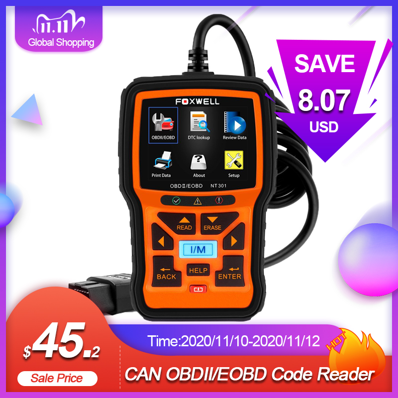 FOXWELL NT301 OBD2 Scanner Professional EOBD OBDII Code Reader Engine Check ODB2 OBD 2 Automotive Scanner Car Diagnostic Tool