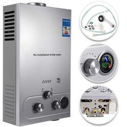 Calentador de agua caliente VEVOR, Gas propano, LPG, SIN depósito, 6/8/10/12/16/18L, 4,8 GPM, de acero inoxidable, Gas propano a pedido