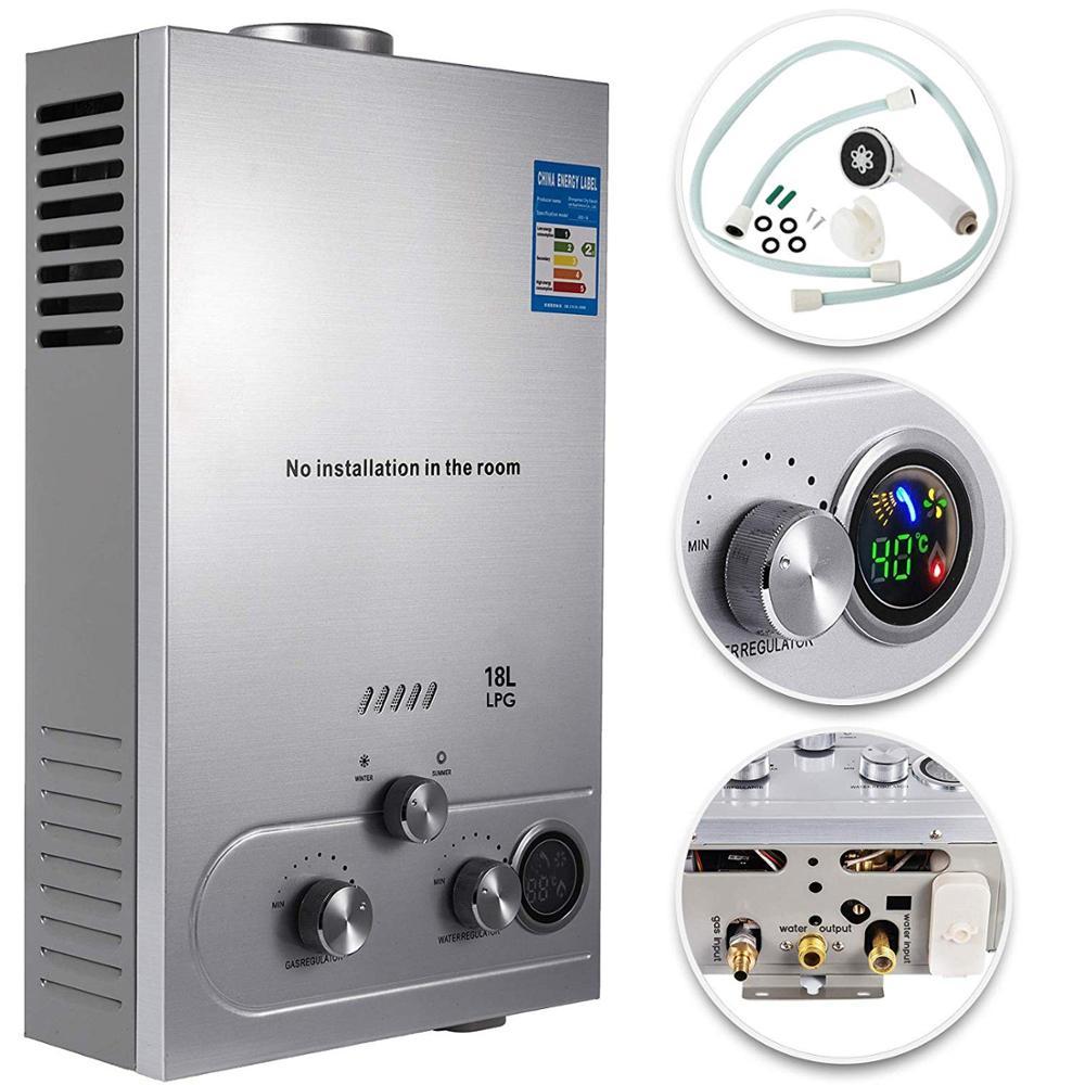 VEVOR Propane gaz LPG chauffe-eau sans réservoir 6/8/10/12/16/18L 4.8GPM acier inoxydable Propane chauffe-eau à gaz à la demande