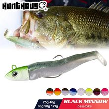 Hunthouse black minnow 70mm 7g 85mm 12g 100mm 25easy shiner fishing lure soft lure lead jig bait bass pike fishing leurre souple cheap hunt house Ocean Boat Fishing Ocean Beach Fishing LAKE River Reservoir Pond stream Ocean Rock Fishing CN(Origin) LW216 Artificial Bait