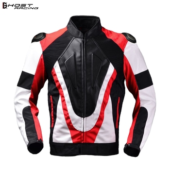 GHOST RACING Motorcycle Armor Jacket PU leather Men Windproof Moto Jacket Riding Racing Motorbike Clothing Protective Gear