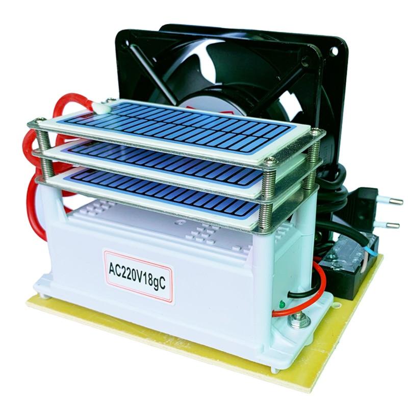 220V 18g/h Ozone O3 Generator Air Water Purifier 3 Layers Moisture Proof With Fan Ozonizer  Sterilizer Treatment Ozone Machine