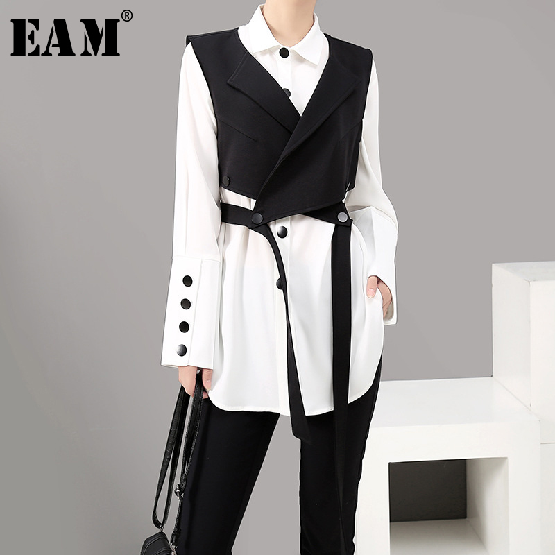 [EAM] Women Two Piece Blouse Strap Black Button New Lapel Long Sleeve Loose Fit Shirt Fashion Tide Spring Autumn 2019 1A182