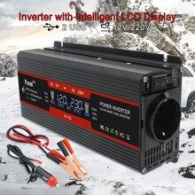 LCD ekran 6000W güç inverteri voltaj dönüştürücü trafo DC 12V AC 220V güneş enerjisi 2 USB araba trafo dönüştürme ab soket