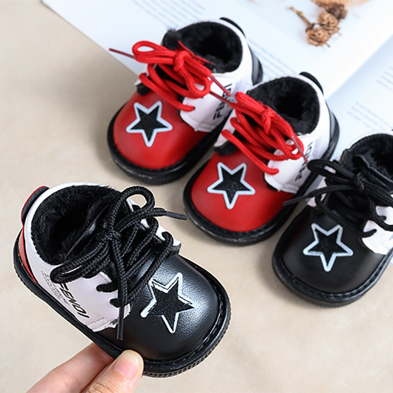 Children Winter Baby Girls Boys Shoe Plus Velvet Kids Soft Lace-up Cartoon Print Breathable Bottom Walking Sports Baby Shoes L
