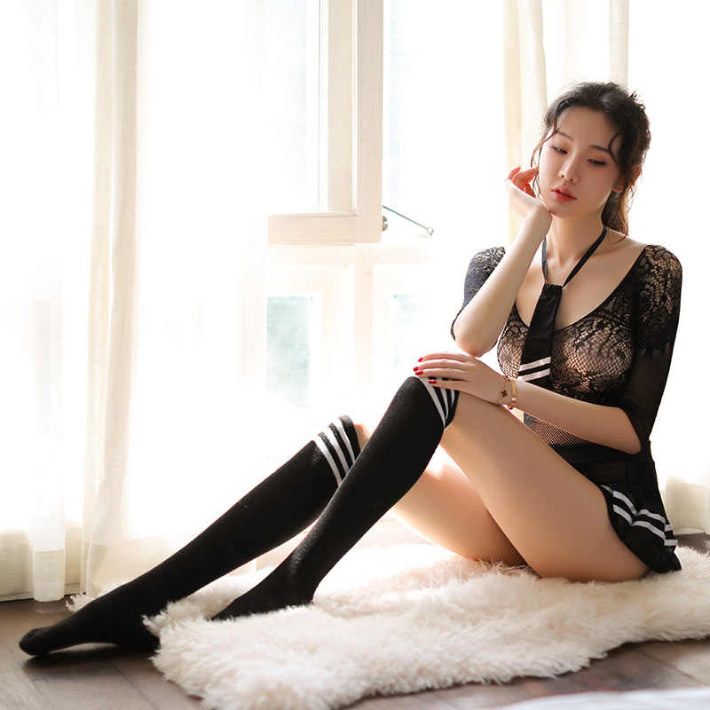 Oncecrazy Cosplay Sexy Student Uniform Lingerie Hot Erotische School Zwarte Plaid Tie + Mini Rok Meisje Kostuums Verleiding Visnet