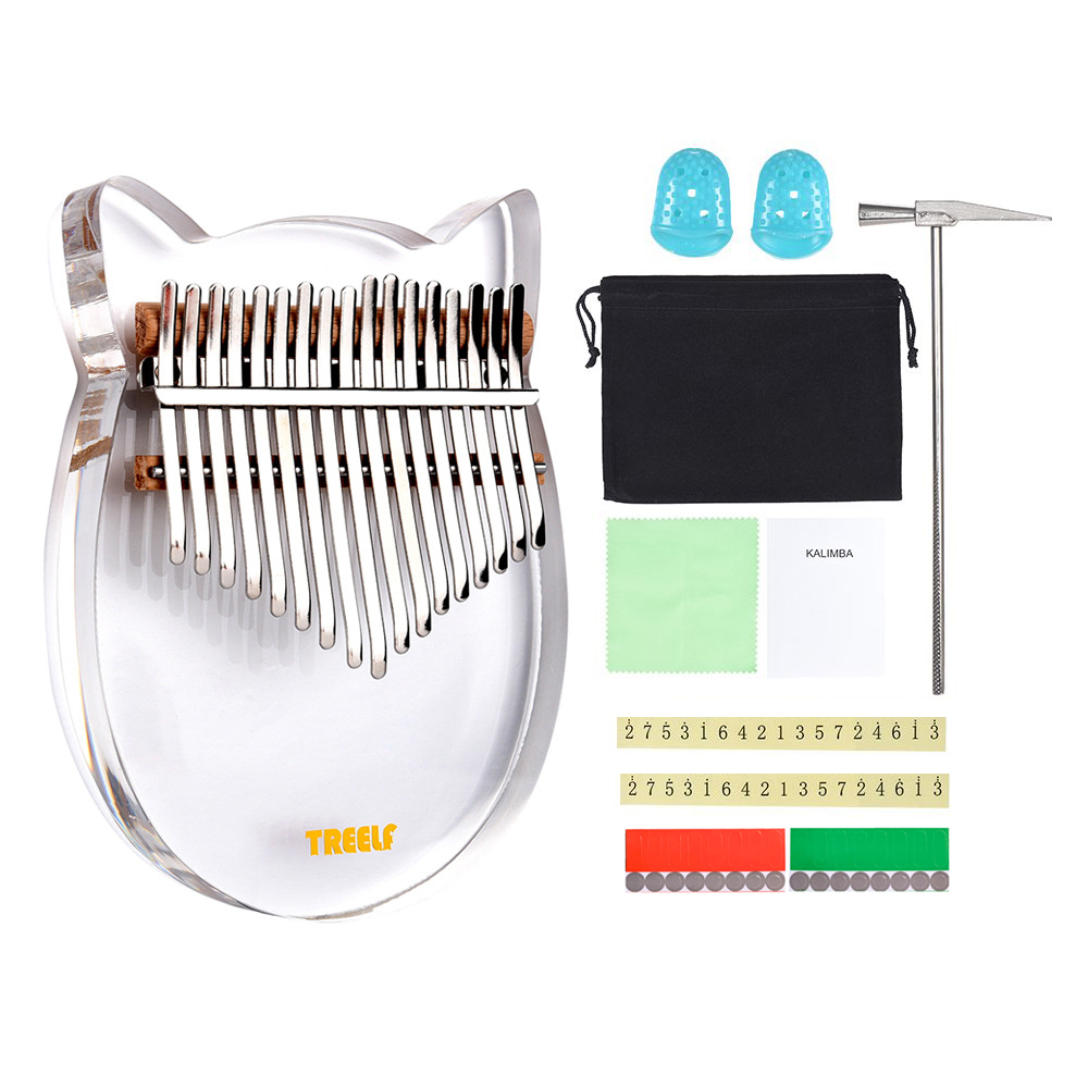 Treelf  TF-17C 17 Key Kalimba Acrylic Thumb Piano 17 Keys Mbira Transparent Keyboard Instrument