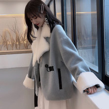 New Granule Wool Coat Women Autumn and Winter 2019 Fashion Patchwork Compound Double-faced Fur Jacket