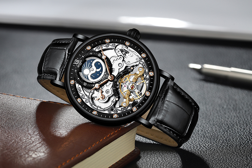 H5aae1f7ba7284fc9a488acb13243536aZ KINYUED Skeleton Watches Mechanical Automatic Watch Men Tourbillon Sport Clock Casual Business Moon Wrist Watch Relojes Hombre