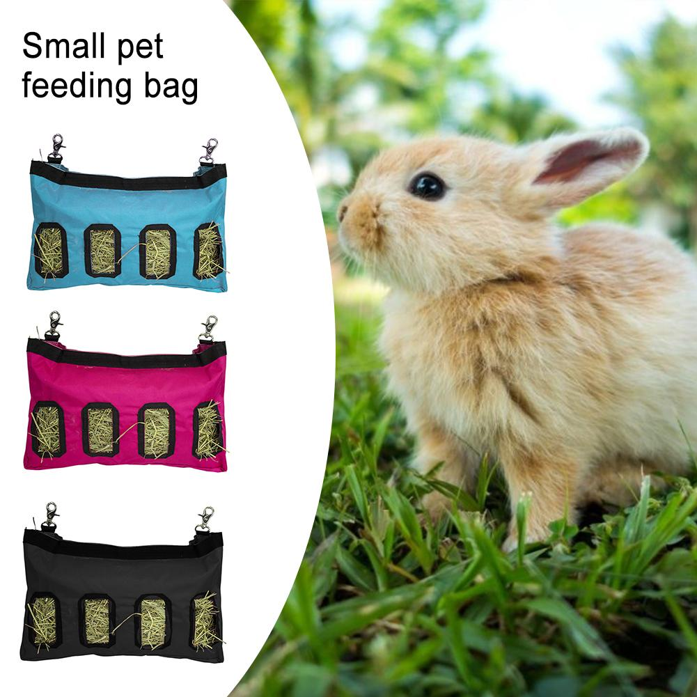 Hay Bag Hanging Feeder Sack Holder Feeding Supply For Rabbit Guinea Pig Chinchilla Small Animals Pet Cage Accessories
