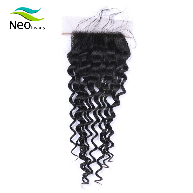 Brazilian 4x4 Silk Base Deep Wave Remy Human Hair Front Swisse Lace Natural Color Can Be Dyed Hair For Women