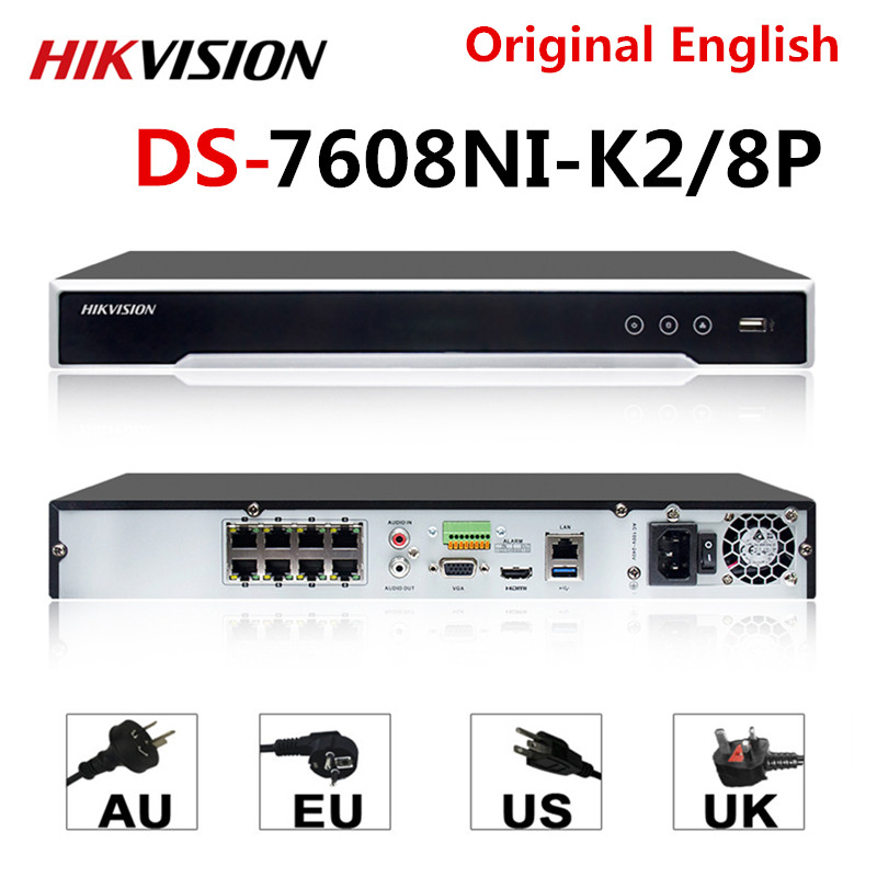 Hikvision оригинальный NVR DS-7608NI-K2/8 P 8CH POE NVR 8MP 4K запись 2 SATA для POE камеры безопасности сетевой видеорегистратор