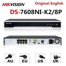 Оригинальный видеорегистратор Hikvision, NVR, 8/8P, 8 каналов, POE, NVR, 8 Мп, 4K, запись 2 SATA, для камеры POE, сетевой видеорегистратор безопасности
