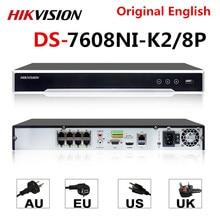 Hikvision Originele NVR DS 7608NI K2/8 P 8CH POE NVR 8MP 4K Record 2 SATA voor POE Camera Beveiliging netwerk Video Recorder