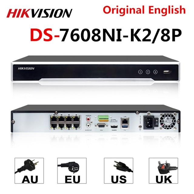 Hikvision 원래 nvr DS 7608NI K2/8 p 8ch poe nvr 8mp 4 k 기록 2 sata poe 카메라 보안 네트워크 비디오 레코더